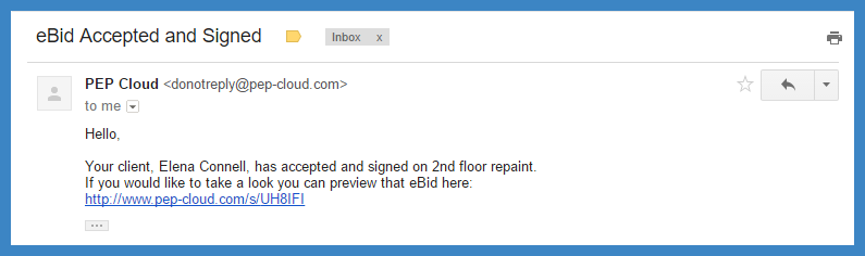 eBid acceptance email