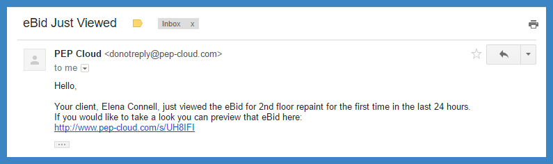 eBid notification email